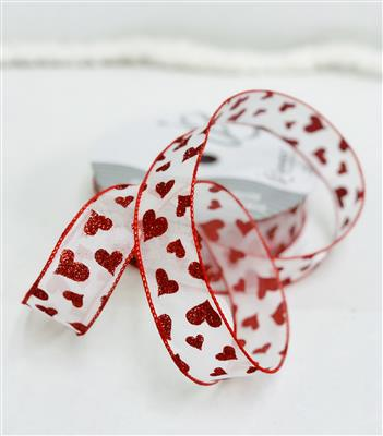 #9 Heartsie White Ribbon 50yd
