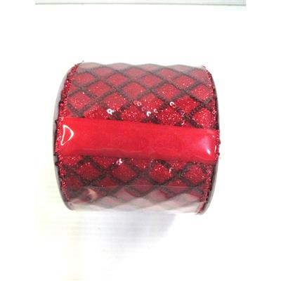 "4""W Seq. Glit. lattice Rib. 10yd Red"
