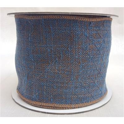 "4"" Wool Tweed Rib. 10yd Blue/Nat."